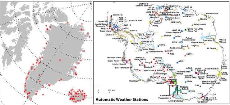Stationer Arktis och Antarktis