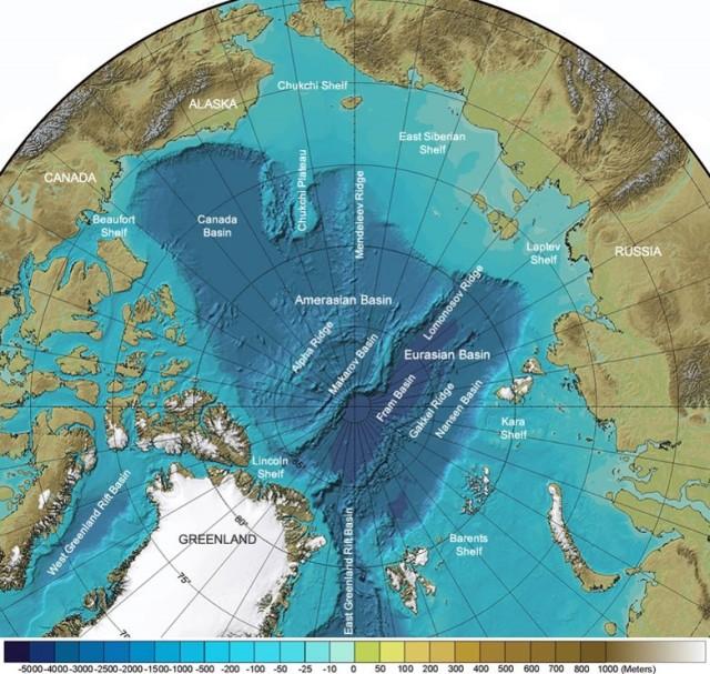 Topografy Arctic Ocean